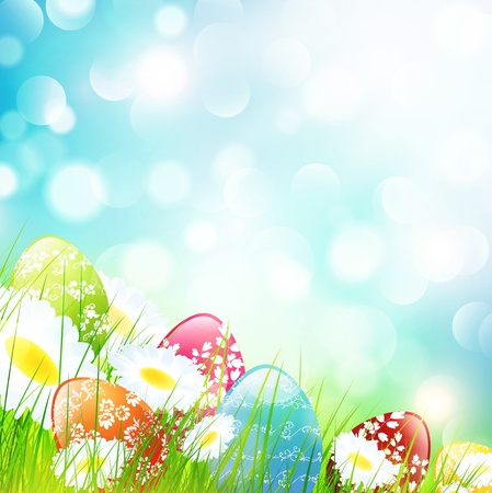 Easter Camomile Flower Field with Eggs Over Bright Background Stock Vector - 17182039