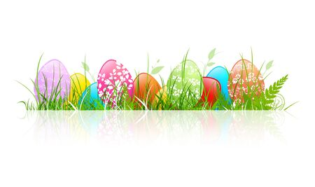 Multicolored Floral Decorated Easter Eggs in Grass Over White Stock Vector - 17182047