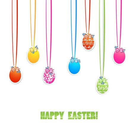 Decorative Easter Eggs With Bows and Flowers Over White Background Stock Vector - 17311333