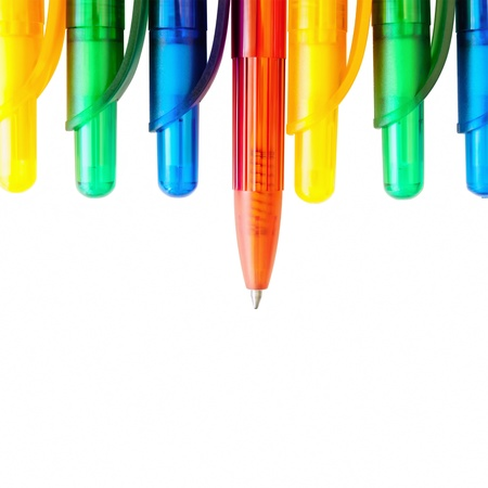 biro: Multicolored Pens Over The White Background