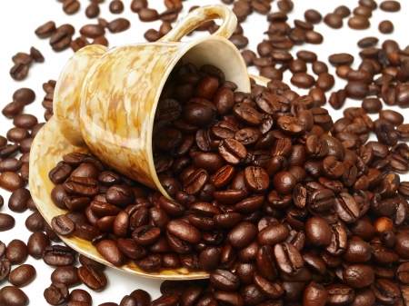 Porcelain Cup On The Ssaucer With Scattered Coffee Beans Stock Photo - 17333444