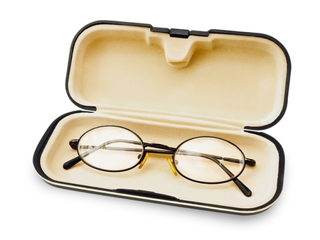 spectacle: Old Glasses In The Spectacle Case Over White