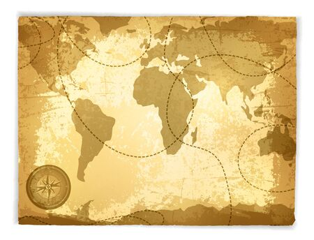 Vintage Travel Manuscript With Map and Compass Over White Background Stock Vector - 17431301