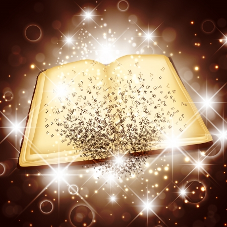 literary characters: Opened Magic Book With Letters Over Bright Star and Light Background