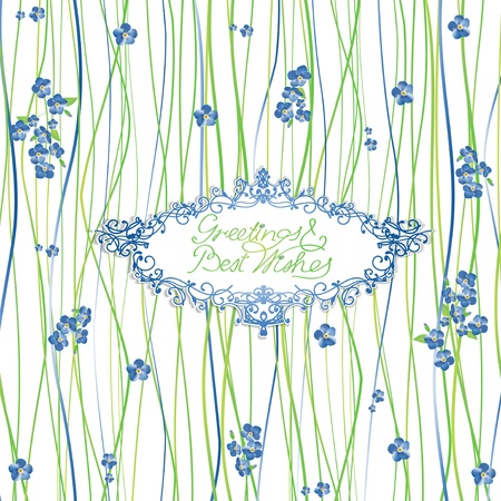 forget: Greeting Card With Forget Me Not Flowers and Green Decoration