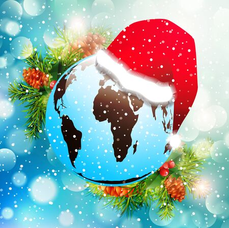 Christmas and New Year Holiday Bright Background With Earth in Santa Hat Stock Vector - 17431325