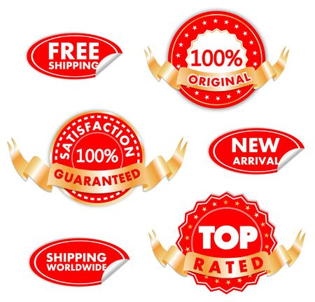 satisfaction guaranteed: Different Tags For Best Sales In Red and Golden Illustration