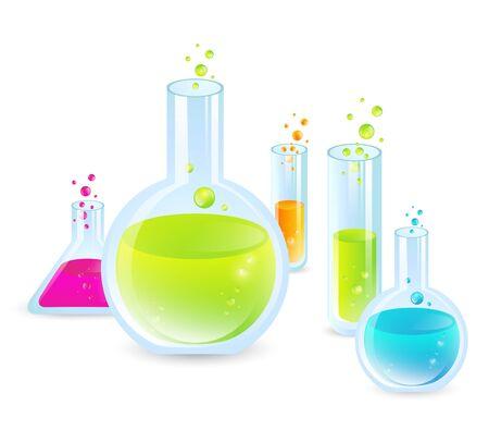reagents: Laboratory glassware: Test Tubes With Multicoloredn Liquides Illustration