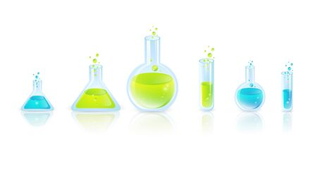 Laboratory glassware: Test Tubes With Green and Blue Liquides Stock Vector - 17665787