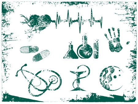 Illustration of Grunge Medicine Tools and Objects Over White Background Stock Vector - 17665790