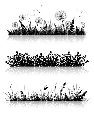 grass silhouette: Different Grass Banner Silhouette Collection In Black and White
