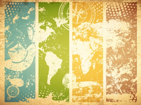 vintage world map: Vintage Travel Abstract Grunge Background