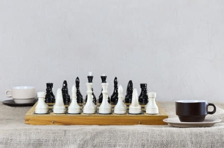 Chess Pieces Are Placed And Ready For The Game photo