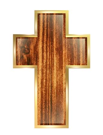 cruz de madera: Cruz de madera en marco de oro sobre fondo blanco Vectores