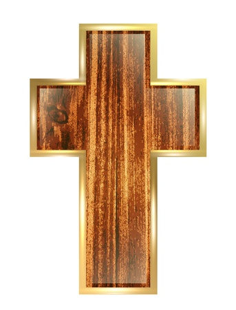 wooden cross wooden cross in golden frame over white background illustration