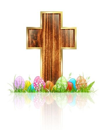 simbolos religiosos: Pascua: Cruz de madera con los huevos en la hierba sobre fondo blanco Vectores