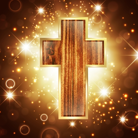 wooden cross: Faith in God: Cross Over Bright Shiny Background
