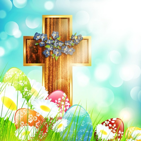 wooden cross: Easter Camomile Flower Field with Eggs and Wooden Cross
