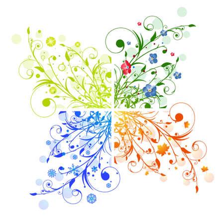 Astratto Stagioni Illustrazioni floreali: Primavera, Estate, Autunno, Inverno Vettoriali