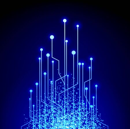 electronical: Illustration of Abstract Bright Electronic Circuit in Blue Illustration