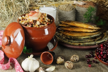 old fashioned vegetables: Still Life Of National Latvian Food Products