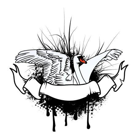 cisnes: Vuelo del cisne Diseño abstracto con la bandera Old Fashioned Vectores