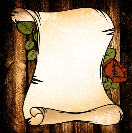scroll border: Old Paper With Red Rose Over Wooden Background Illustration