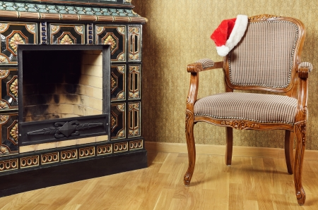 chimney corner: Old Antiques Armchair With Santa