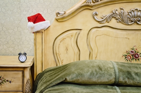bedchamber: Fragment Of Santa Claus Bedroom With Alarm Clock