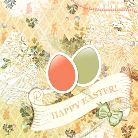 Vintage Easter Scrapbooking Greeting Background  Vector