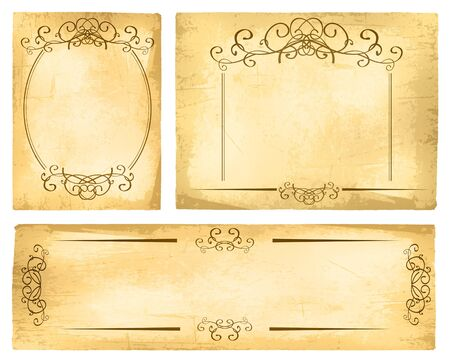 grungy background: Vintage Paper Border Collection With Copyspace