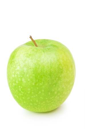 viands: Single Green Apple Over The White Background Stock Photo