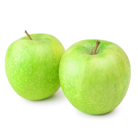 viands: Two Green Apples Over The White Background Stock Photo