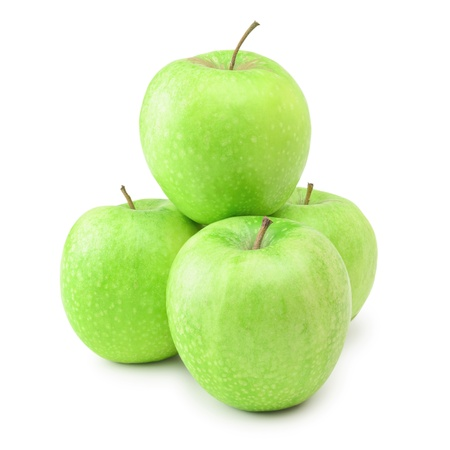 viands: Ripe Green Apples Over The White Background Stock Photo