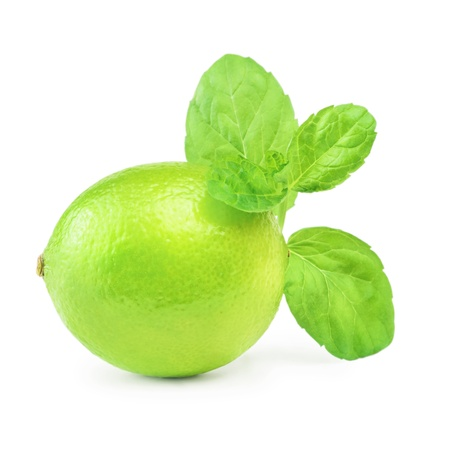 viands: Native Lime And Mint Over The White Background