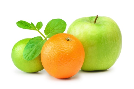viands: Lime, Apple And Mandarin Over The White Background
