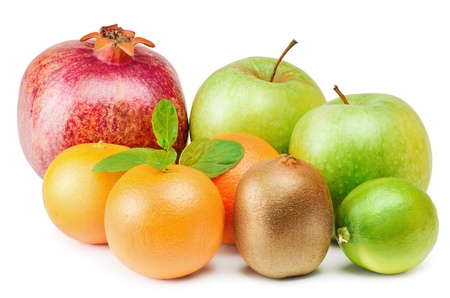 viands: Group Of Different Fruits Over The White Background