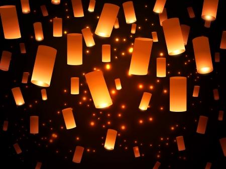 papierlaterne: Leuchtende Hoffnung Lampion Fairy-Lichter �ber Dark Night Hintergrund