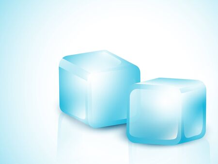 froze: Two Blue Ice Cubes With Copy Space