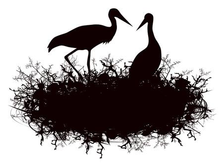 nido de pajaros: Ilustración de la silueta de la cigüeña Nido sobre el fondo blanco Vectores
