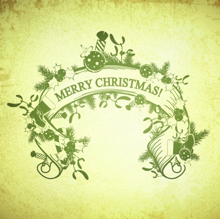 Merry Christmas Decorated Scroll at Vintage Grunge Background Vector