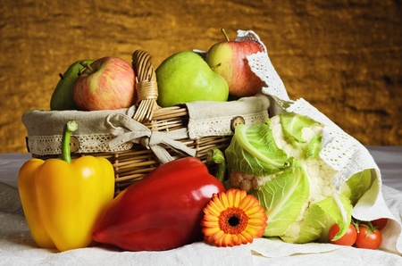 old fashioned vegetables: Still Life Of Vegetables And Fruits With Basket   Stock Photo