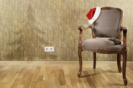 antique furniture: Old Antiques Armchair With Santa