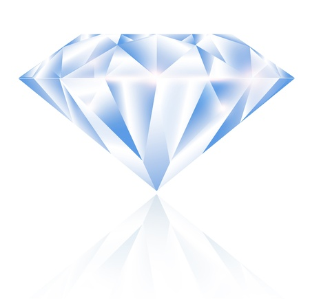 Single Diamond Over White Background Illustration