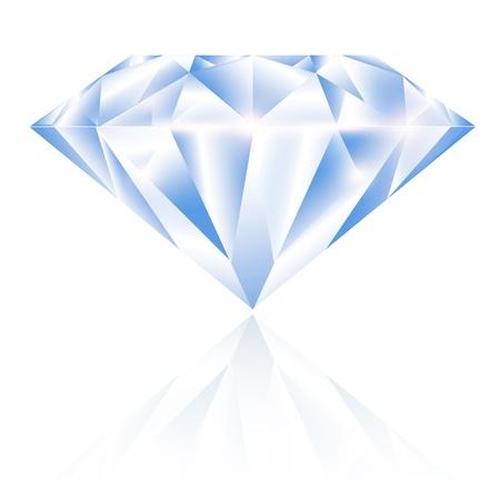 Single Diamond Over White Background Vettoriali