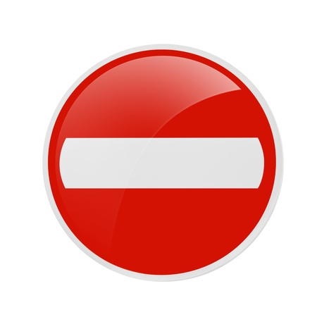restrictive: No Entry Traffic Sign Over The White Background