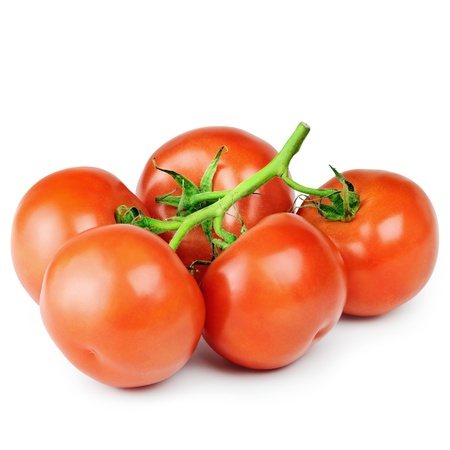 viands: A Cluster Of Red Ripe Tomatoes Over The White Stock Photo