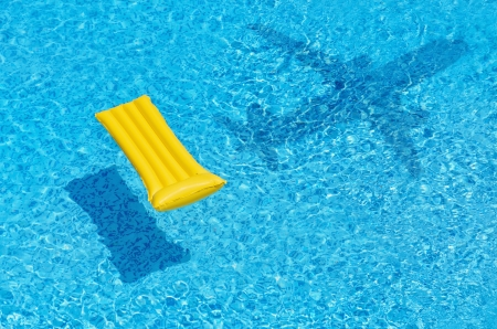 Air Mattress In The Pool And Airplane Shadow