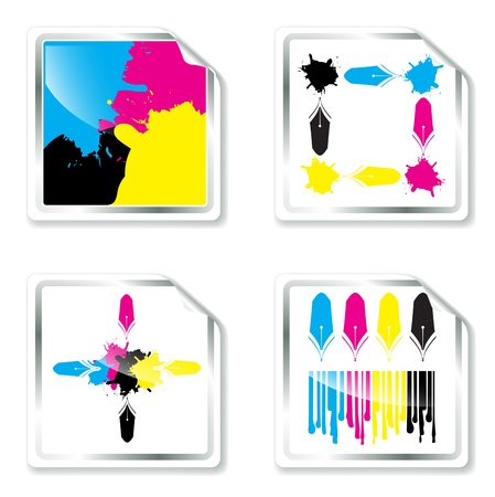 prepress: CMYK Designs Collection in Squares Over White