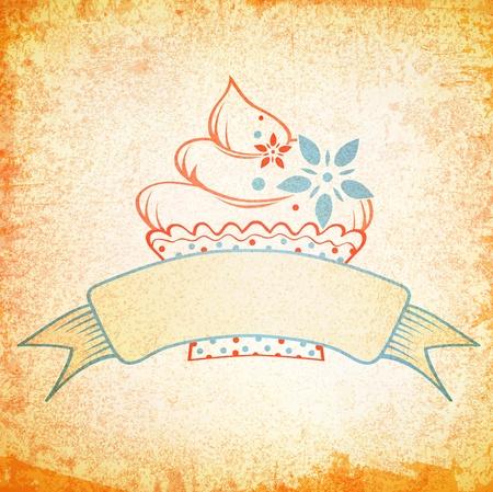 Vintage Grunge Cake Design Background With Copyspace